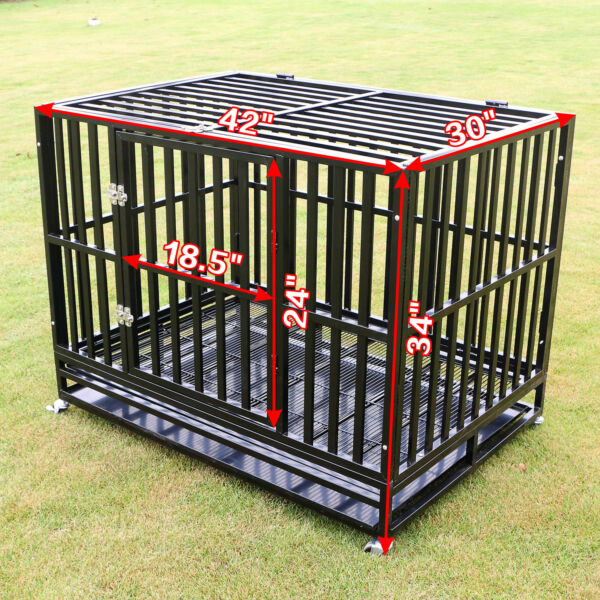 42quot; Heavy Duty Dog Cage Large Metal Crate Square Tube Pet Kennel Playpen w Tray $209.99