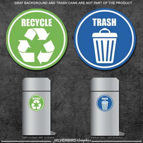 Trash and Recycle - sticker decals  home and office container  various sizes!