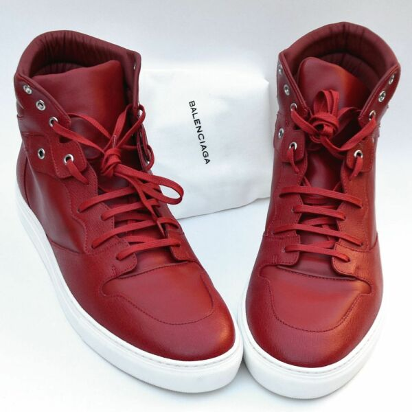 BALENCIAGA New sz 48 - 15 Authentic Designer Mens High Top Sneakers Shoes red