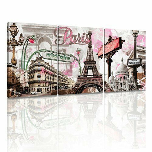 Decor Mi Modern Wall Art Pink Paris Eiffel Towel Decor Romantic City Paintings
