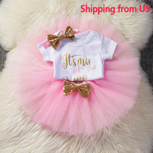 Baby Girls 1st First Birthday Dress Romper Tutu Skirt Headband Cake Outfits Kids