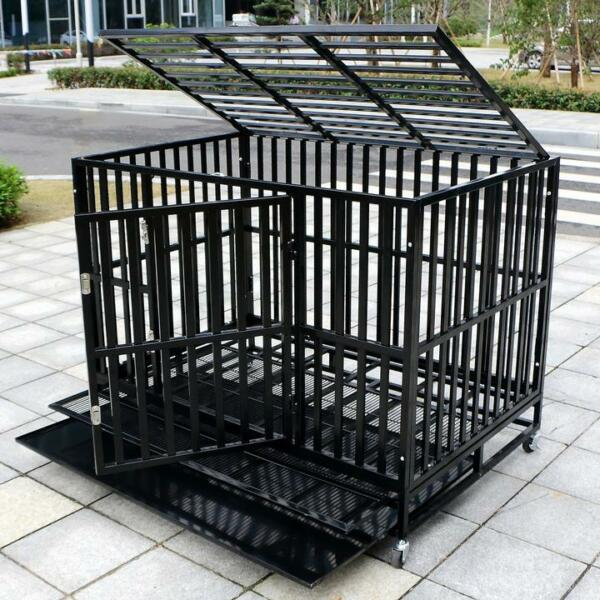 37#x27;#x27; 42#x27;#x27; 48#x27;#x27; Heavy Duty Dog Cage Large Crate Square Tube Pet Kennel W Tray $159.99