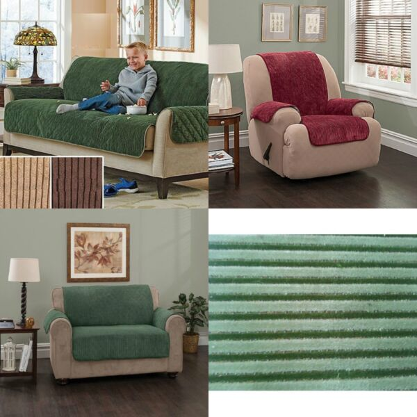 Plush Furniture Protectors Slipcover Water Proof Stripe Cover Recliner Sofa LS $27.96
