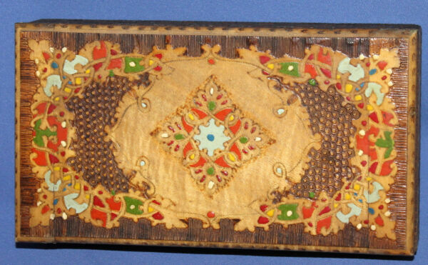 Vintage Hand Made Pyrography wood cigarette case box