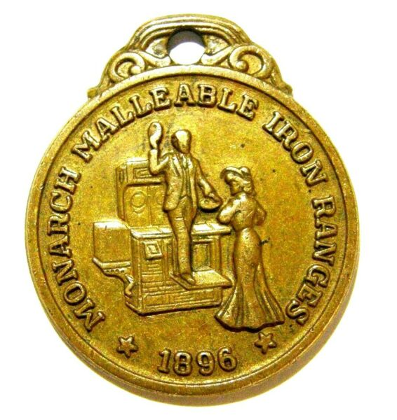 1896 MONARCH IRON WOOD STOVES MEDALLION FOB STOVE amp; PEOPLE PICTORIAL SCARCE $28.50