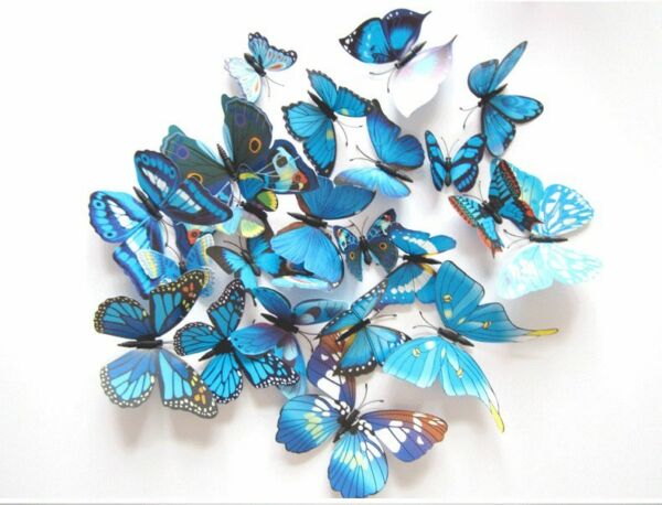 12 Pcs 3D Butterfly Wall Sticker Decals Super for Girls Bed Room Baby Kids Decor