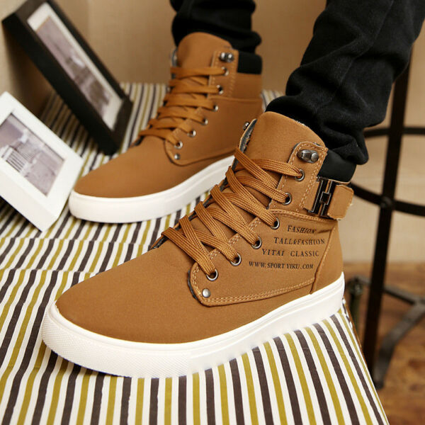 New Mens Oxfords Casual High Top Shoes Leather Shoes Canvas Sneakers Fashion