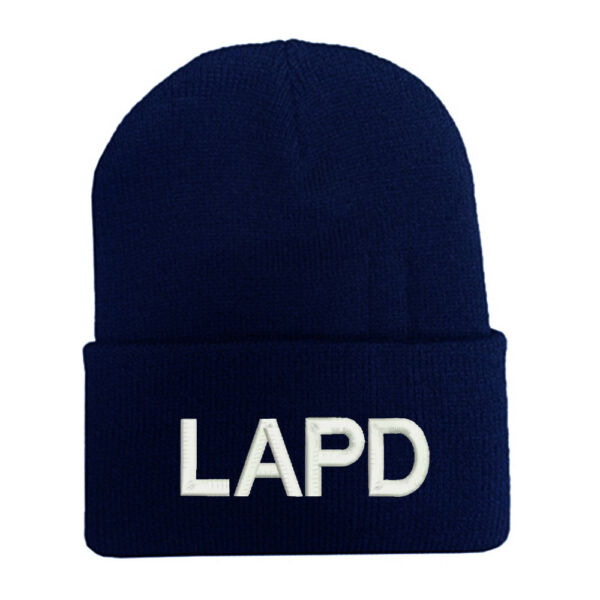 NAVY BLUE LAPD POLICE OFFICER BLOCK TEXT LONG CUFF BEANIE HATS MILITARY