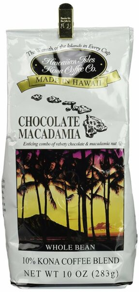 Kona Chocolate Macadamia Coffee - 10oz Whole Bean (12 pack)