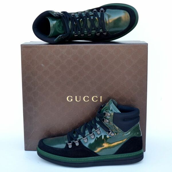 GUCCI New sz 12 G US 12.5 High Top Designer Mens GG Sneakers Shoes green black