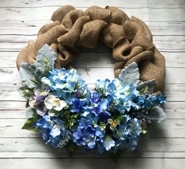 Spring Summer Wreath Front Door Flower Silk Flowers Wild Handmade Burlap 18""