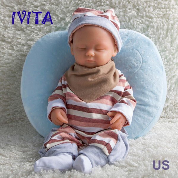 IVITA 15'' Eyes Closed Full Silicone Reborn Baby Girl 1.8KG Lifelike Doll