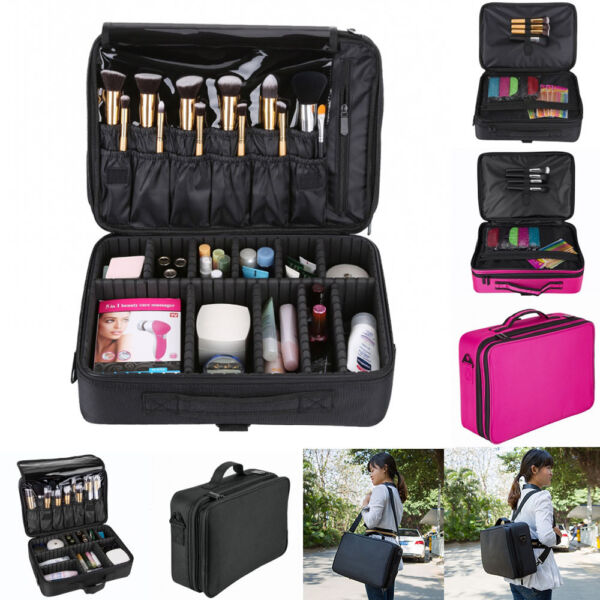 13/16'' Professional Makeup Bag Cosmetic Case Storage Organizer Artist Travel US