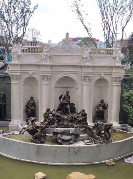AMAZING  BRONZE AND MARBLE HORSE MONUMENTAL ESTATE THE BEST FOUNTAIN - BHF69