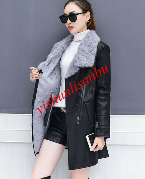 womens waist coat slim thick lapel collar fur lining belt faux leather jacket