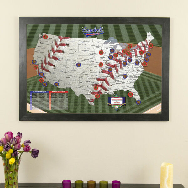 Baseball Adventures - Push Pin Travel Map - Follow the Majors - Track your Trips