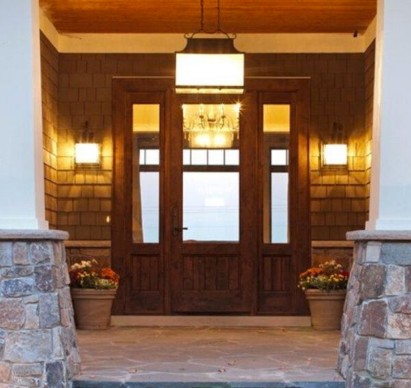8FT KNOTTY ALDER CRAFTSMAN SINGLE LITE ENTRY DOOR WITH SIDE LITES