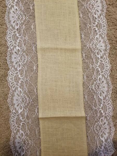 10 BRAND NEW LACE BURLAP TABLE RUNNER 17x108