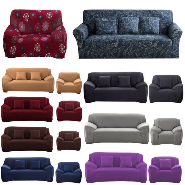 1 2 3 4 Seater Universal Stretch Sofa Covers Protector Couch Cover Slipcover US