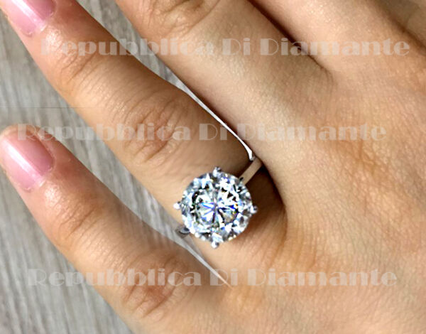 Engagement Ring Enhanced 4 Ct Diamond Solitaire 14k White Gold F VS1 Round Cut