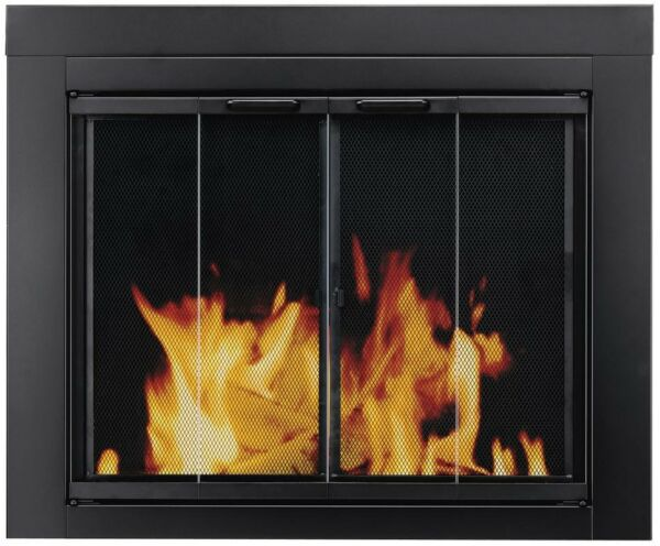 Glass Masonry Fireplace Fire Place Doors Cover Panels Pleasant Hearth AT 1001