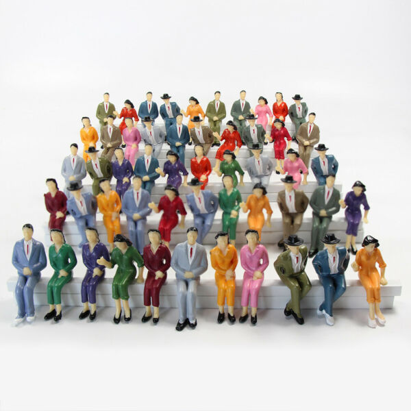 48pcs Model Train G scale Sitting Figures 1:25 Painted Seated People 4 Poses