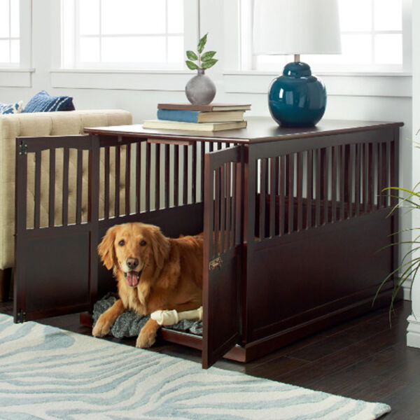 Pet Crate End Table Extra Large Dog House Furniture Kennel Cage Wood Indoor Bed