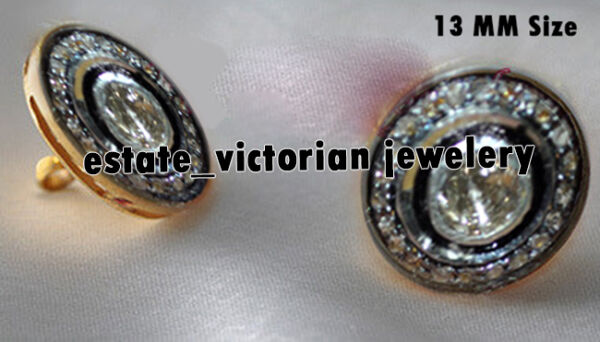 Vintage Estate 1.20cts Natural Rose Antique Cut Diamond Jewelry Silver Buttons
