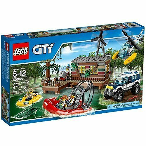 LEGO City 60068 Crooks' Hideout Set w Police Boat Truck Windboat Helicopter.