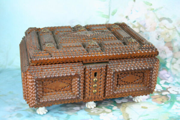 Antique large1900  English Tramp art box wood porcelain paws flower deco inside