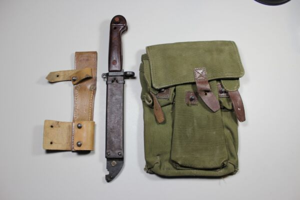 Type 1 Numbers Matching Romanian Bayonet Leather amp; Frog 3 Cell Magazine Pouch