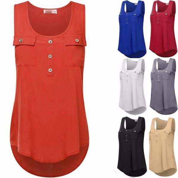 Women Casual T-shirt Sleeveless Vest Sexy Loose Tank Tops Plus Size Summer USA