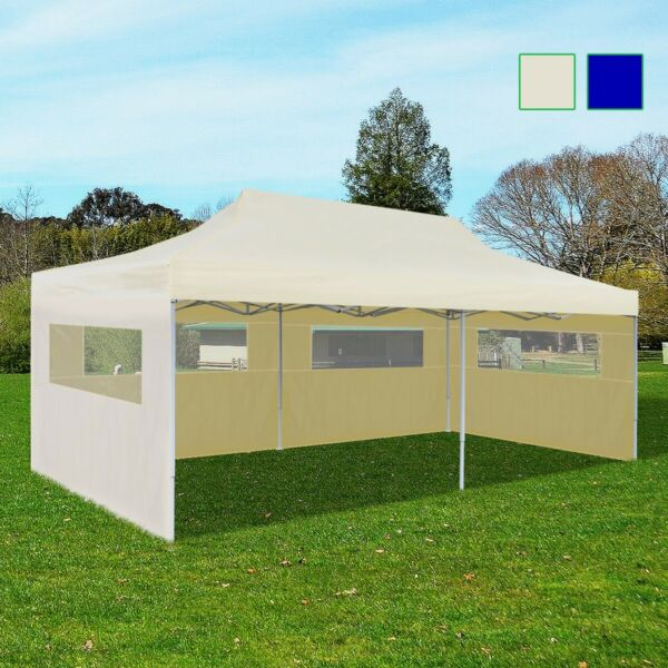 10'x20' Outdoor Foldable Gazebo Pop Up Party Tent Garden Canopy Cream/Blue