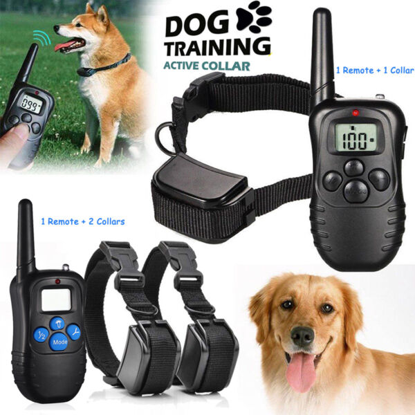 Rechargeable Dog Shock Training Collar LCD Remote Control Waterproof 330 Yards $20.29