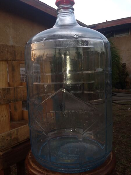 SPARKLETTS Antique Five 5 Gallon Glass Bottle With Wood Crate Decorative Rustic