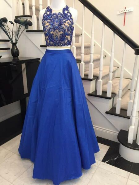 In Stock Size 246Sexy 2 pieces A Line Blue Long  Prom Dress Pageant Gown
