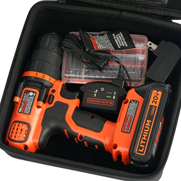 Travel Hard Case for BLACKDECKER LDX120C 20 Volt MAX Lithium Ion Cordless Drill