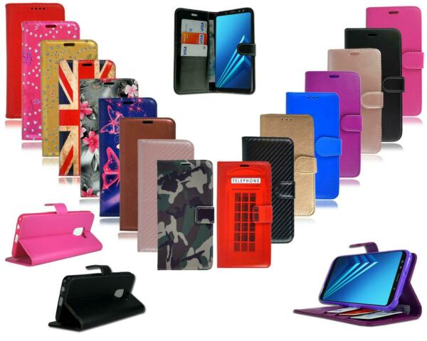 For Samsung Galaxy A8 2018 A530F New Black Leather Flip Wallet Phone Case Cover GBP 3.95