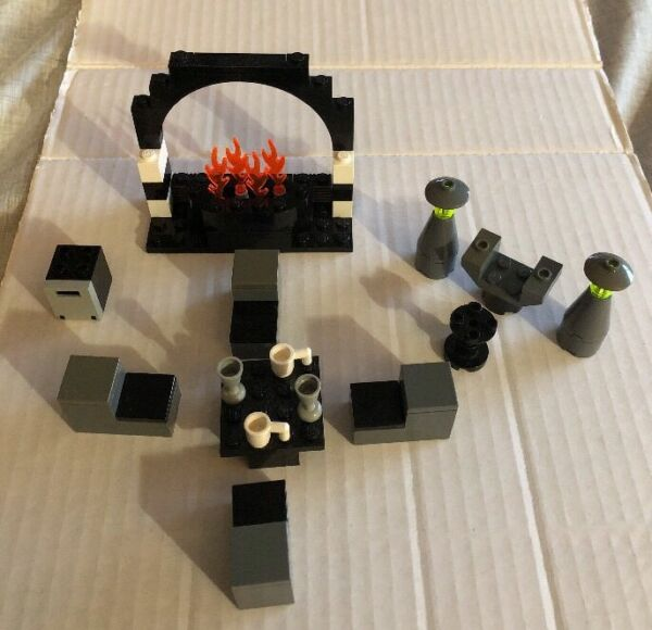 LEGO LIVING amp; DINING ROOM FURNITURE FIREPLACE TABLE CHAIRS COFFEE TABLE LAMPS