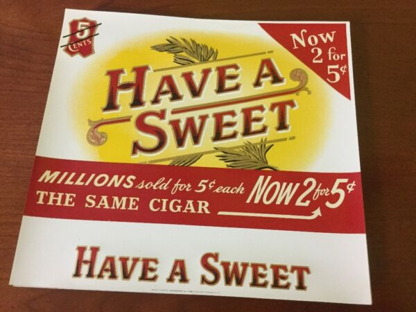 Lot of 60  pieces Vintage Cigar Box Lable Have a SWEET 2 For 5 cents