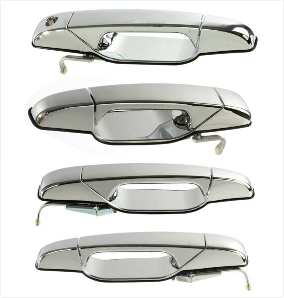 New Chrome Exterior Door Handle Set of 4 Kit for 07-13 Cadillac Chevy GMC