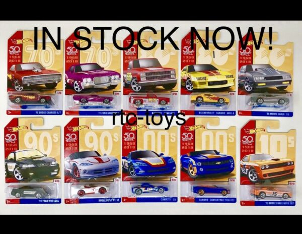 Hot Wheels 50th Anniversary Throwback Series Set Of 10,Camaro,'83 Silverado,2018