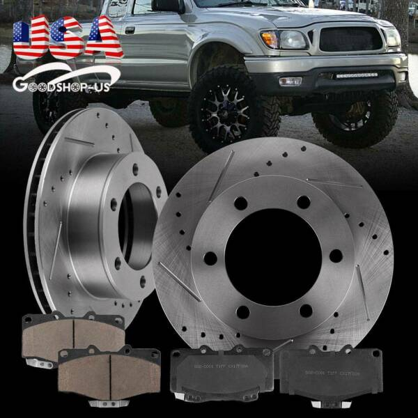 Front Kit Drilled Slotted Brake Rotors & Ceramic Pads For Toyota 4Runner Tacoma