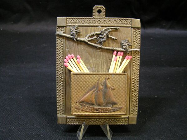 Vintage Ship Metal  Angel  Match Holder Fireplace Accessory