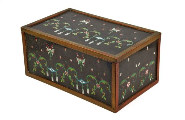 A Large Early 20th Century Chinese Cloisonné Panel Mounted Box