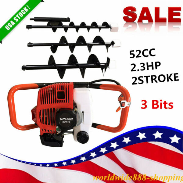 52cc 2.3HP 2-Stroke Gas Powered Post Earth Hole Auger Digger Borer +4