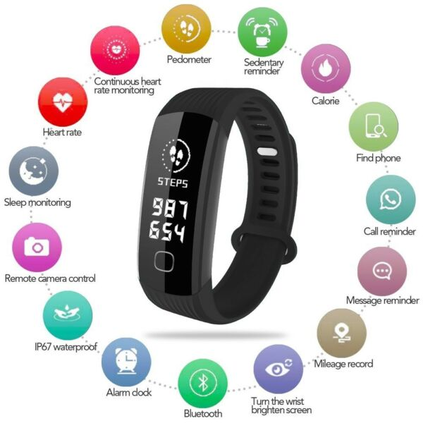 Fitness Activity Tracker Watch Real Time Heart Rate Monitor Smart Bracelet