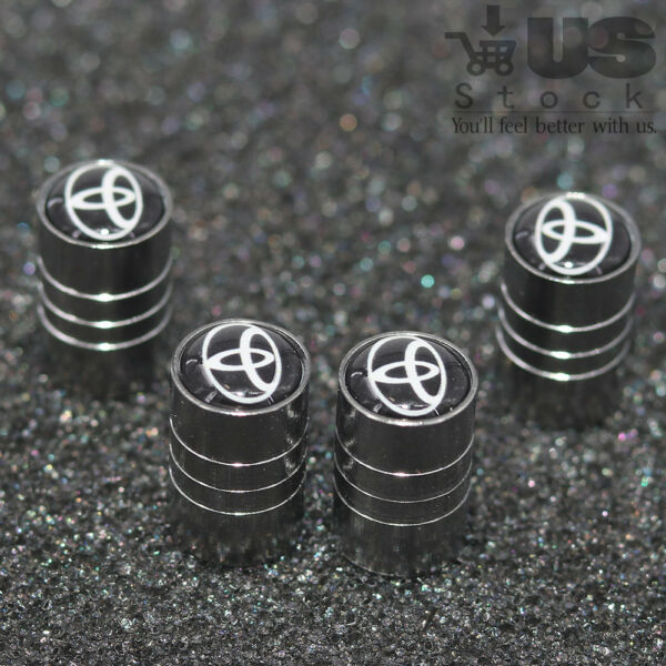 4x Universal Car Wheel Tire Dust Stems Cover Tyre Air Valve Caps Logo For Toyota