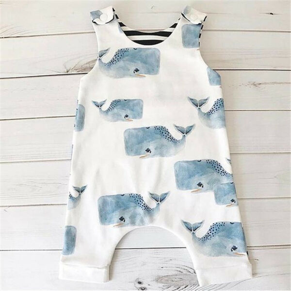 US Seller Toddler Baby Boys Girls Whale Romper Bodysuit Jumpsuit Outfits Clothes