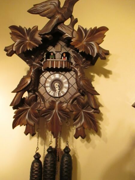 1978 - 79  8 Days Black Forest Coucou Clock  w Music Box .